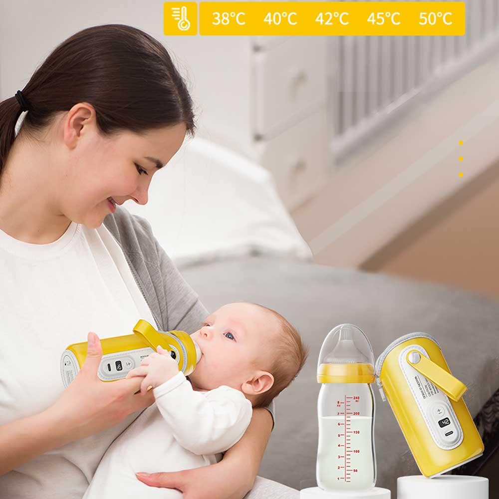 USB Baby Bottle Warmer Car Milk Water Warmer Travel Stroller Insulated Bag Baby Nursing Bottle Heater LCD Accurate TEMP Control