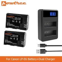 POWTREE 2800mAh LP-E6 LPE6 LP E6 Camera Battery+LED Dual Charger for Canon 5D Mark II Mark III EOS6D 7D 60D 60Da 70D 80D L50