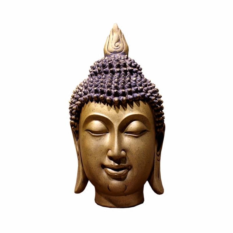 The new Chinese head of Buddha statues, Resin Buddha head southeast figurine, Copper-like, Zen ornaments, decorative background