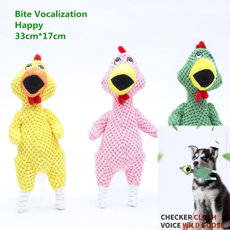 1PC/3PCS Dog Squeak Bite Scream Chicken Dog Toys Pet Products Velvet Toys (33cm*17cm)