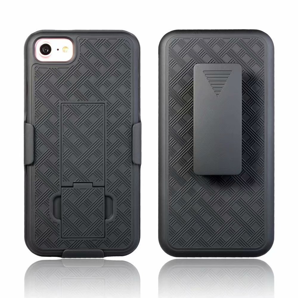 Woven 2 in 1 Hybrid Hard Shell Holster Combo Fall Mit Ständer & Gürtel Clip Für NEUE iPhone SE 2020