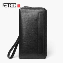 AETOO portefeuille long en cuir pour homme, petit sac à main en cuir vintage, portefeuille perton à fermeture éclair multi-cartes de grande capacité
