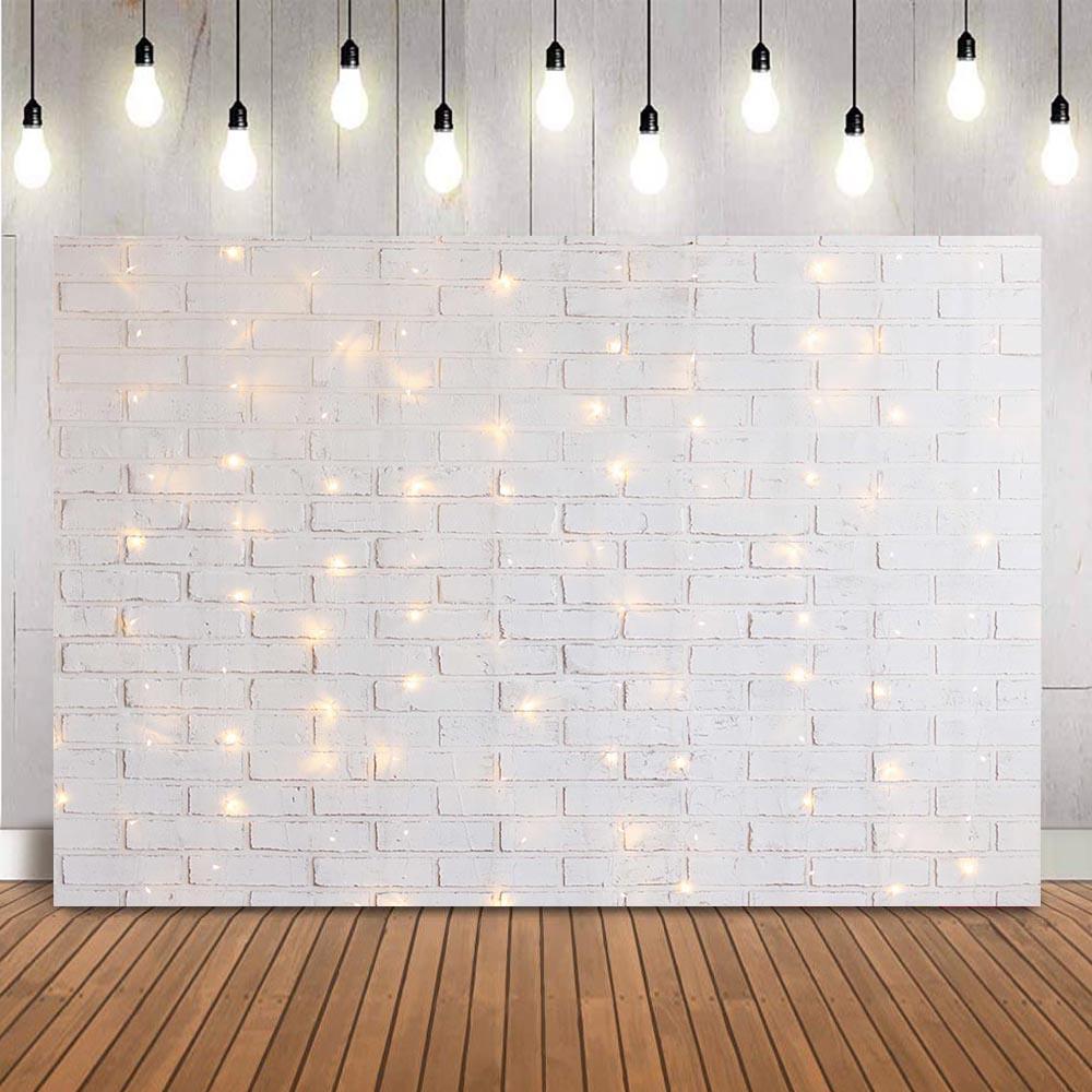 Fondo de fotografía de pared de ladrillo blanco para niños, de ducha...