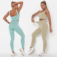 2 pieces of seamless knitted stretch yoga clothes sexy hip lifting trousers sports top gym workout vest suit female breast cup