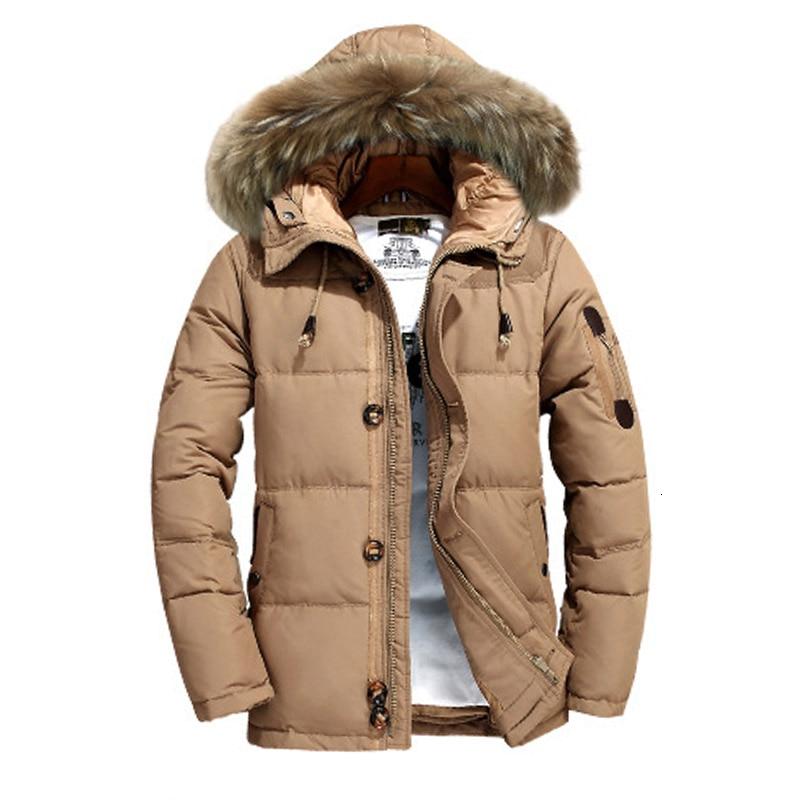 Abrigo de invierno para hombre abrigo grueso Abrigo con capucha de piel cálido pato blanco de nieve abajo Parkas cazadora Doudoune Homme