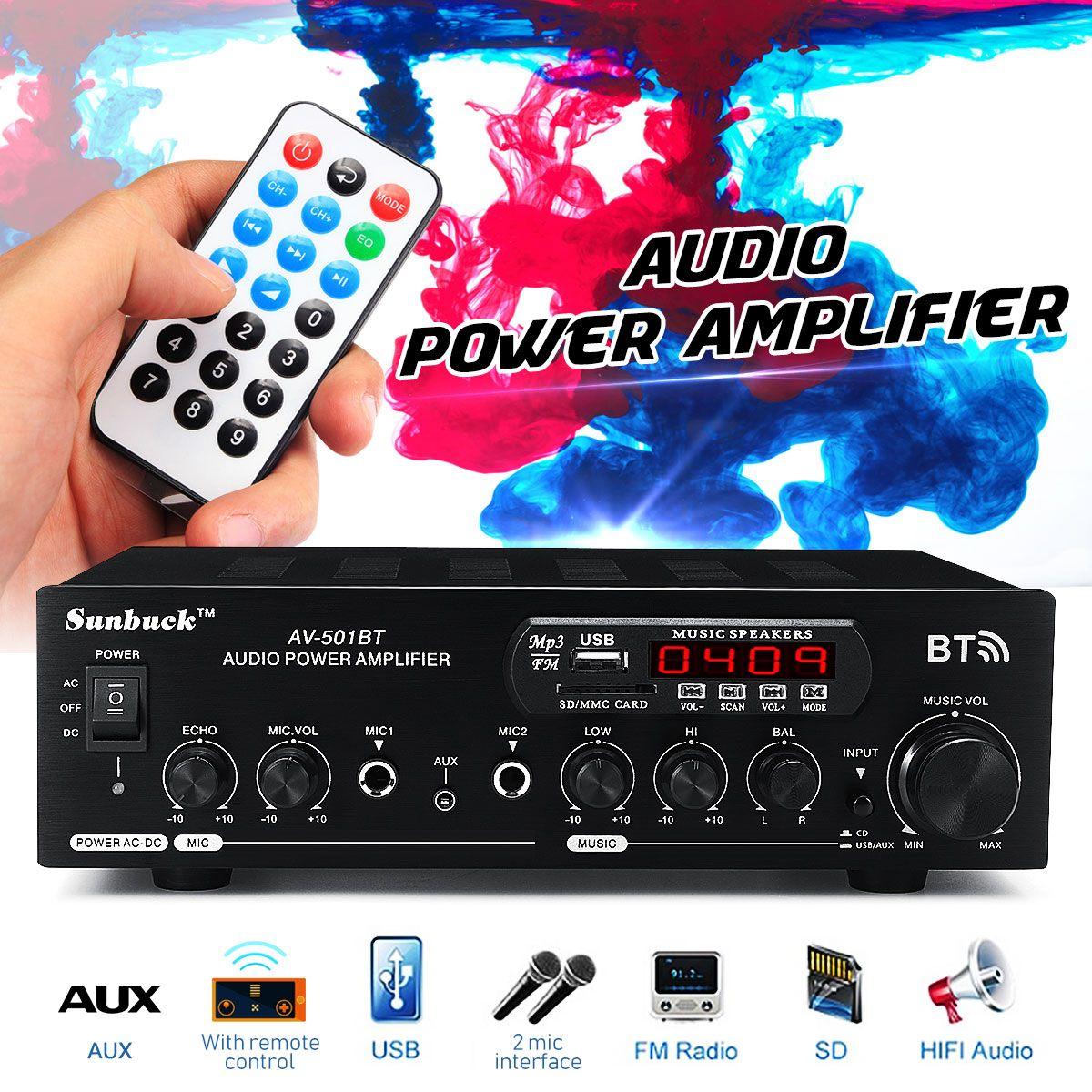 1200W 12V/110V-220V casa coche bluetooth amplificador de potencia con Control remoto estéreo HiFi Digital AMP 2x micrófono AUX USB SD Entrada de tarjeta de