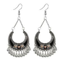 HuaTang ethnique or argent couleur longues boucles doreilles pour les femmes Boho cloche gland géométrique cristal goutte boucles doreilles bijoux Brincos 6695