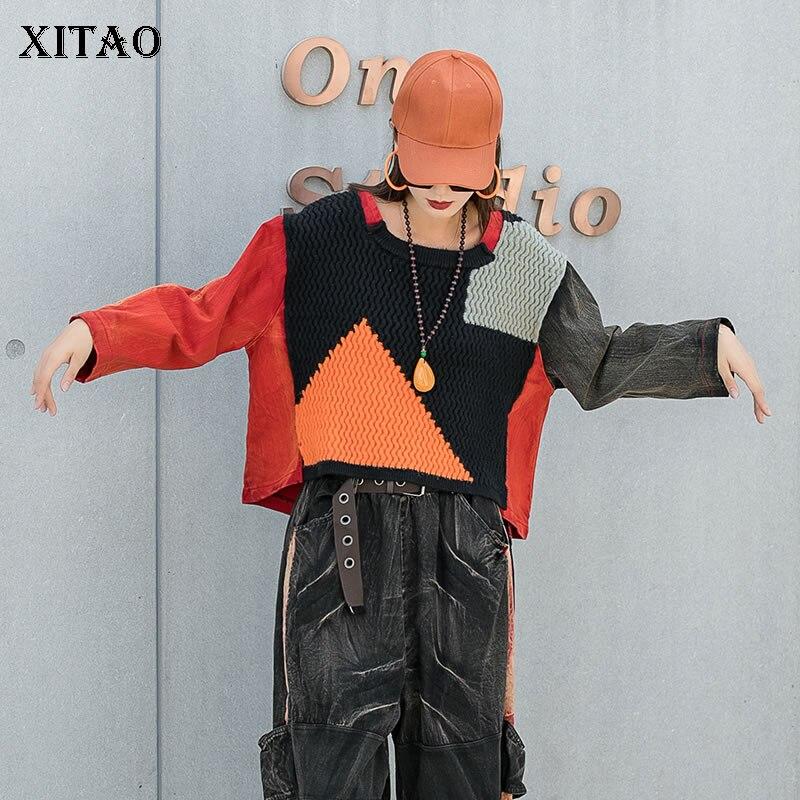 بلوفرات حديثة على الموضة من XITAO بلوفر سيدات مقاس 2021 شتوي WMD4091 حياكة دينم مرقع بأكمام طويلة غير منتظمة