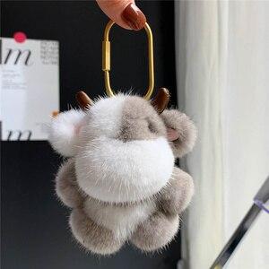 2021 Fashion New Keychain Bull Mink Hair Keychain Cute Car Fur POM POM Keychain Bag Pendant Pendant Decoration Birthday Gift