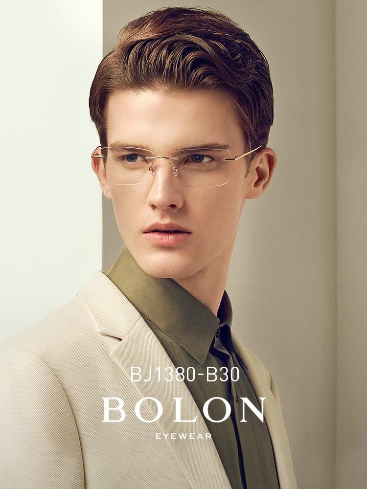 Montura de gafas sin montura BOLON para hombres, gafas miopía cuadradas para miopía, gafas graduadas de titanio, monturas para gafas ópticas para hombre BJ1380
