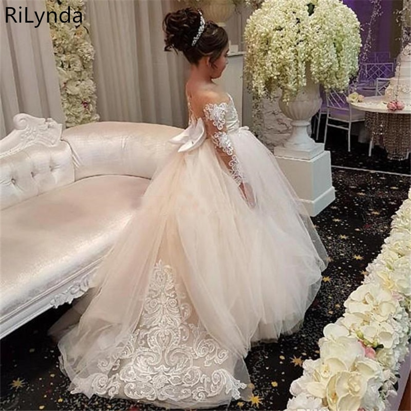 long sleeve flower girl dresses for weddings ball gown tulle lace beaded baby long first communion dresses for little girls Flower Girl Dress For Wedding Tulle Long Sleeve Ball Gown Lace Appliques Little Gowns Girls First Holy Communion Dresses
