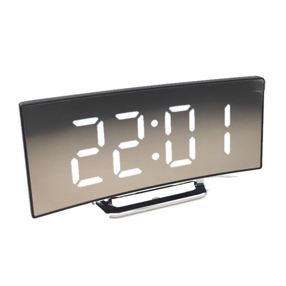 Reloj despertador Digital curvado y regulable, con indicador de 24 horas de...