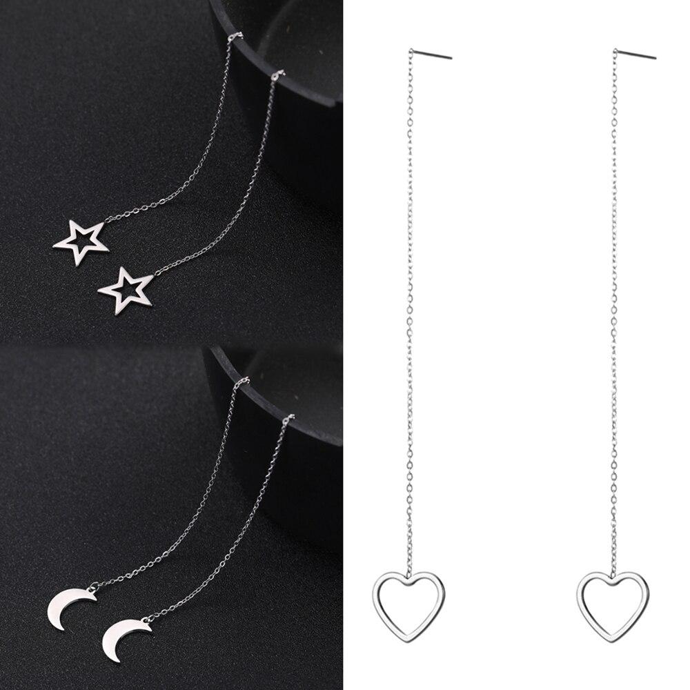 Moda de aço inoxidável geométrico padrão longo linha earirngs moda moom estrela coração borla brincos para mulher