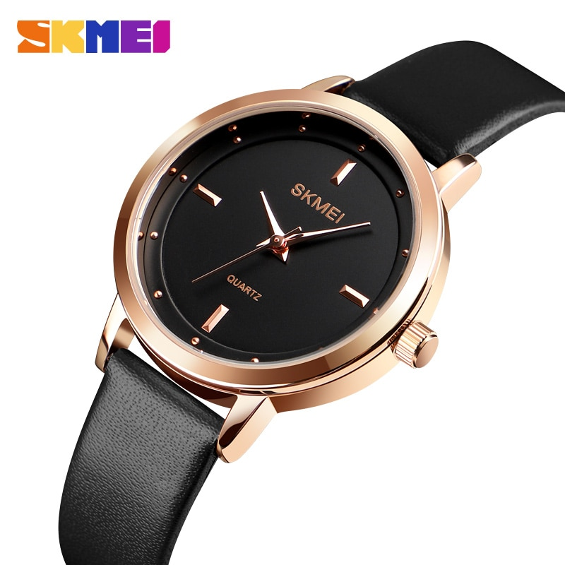 SKMEI Top Brand Fashion Women Watches Leather Female Quartz Wristwatches Ladies Gift Thin Casual Strap Watch Reloj Mujer Montre enlarge