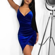 Echoine robe de soirée femmes Sexy velours moulante dos nu col en v Midi gaine irrégularité ourlet bleu Royal dames robes élégantes