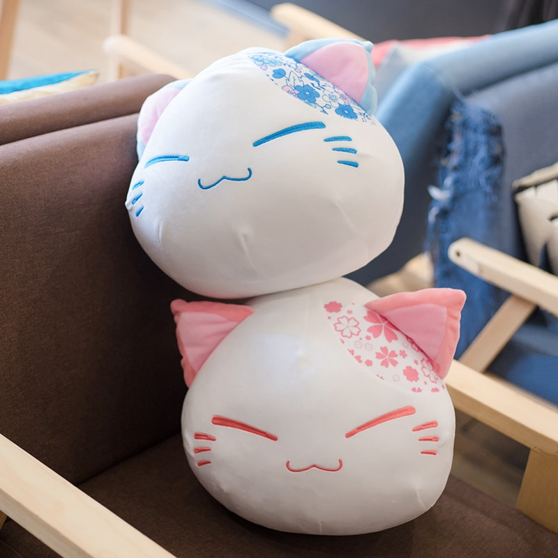 Hot 40cm Cute cherry blossom Cat Pillow Plush Toys Kawaii Animal Sleep Cushion Stuffed Dolls for Children Kids Birthday Gift  - buy with discount