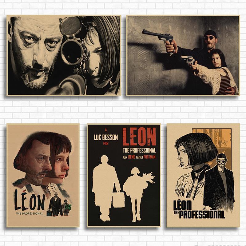 Leon-pegatinas de Pared Vintage profesional, cartel de película Retro, decoración de Pared,...