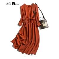 non mainstream design silk crepe de chine autumn and winter dress mid length silk waistband dress 2020 fashion new style