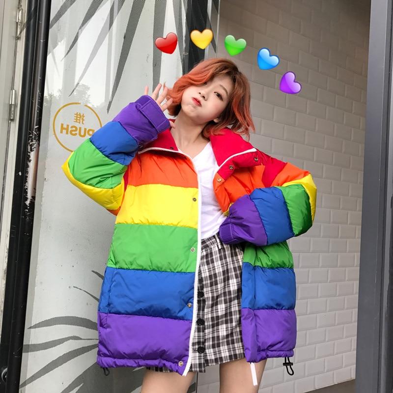 Winter Jacket Women Plus Size Loose Rainbow Striped Harajuku Wadded Parka Coat Femme Chaqueta Mujer Outwear Women Puffer Jacket u swear harajuku winter casual jacket women rainbow wadded parka plus size loose striped coat femme chaqueta mujer