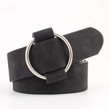 Woman Ladies Faux Leather Straps Belts Female Casual Round Buckle Wide Belts For Women Dress Jeans B
