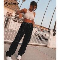 Женские джинсы с высокой талией Rockmore, свободные Джинсы бойфренда, уличная одежда из хлопка, модные прямые брюки-карго с карманами в стиле Ха...