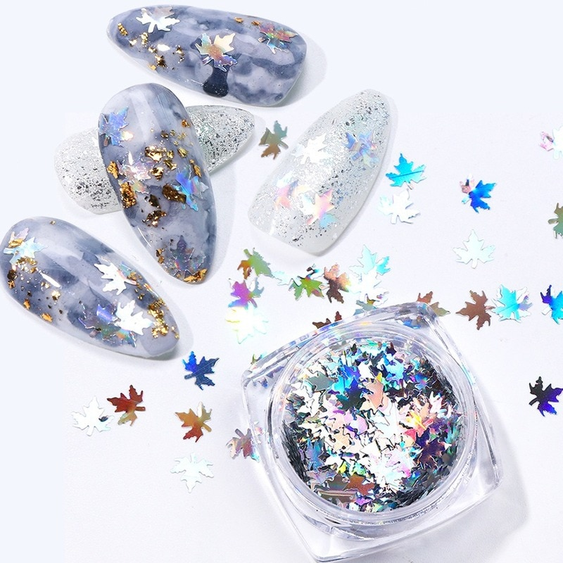 1 Pc Butterfly Maple Leaf Nail Art Sequins Holographic Nail Glitter Flakes Laser Fall Leaves Autumn Nail Art Decoration