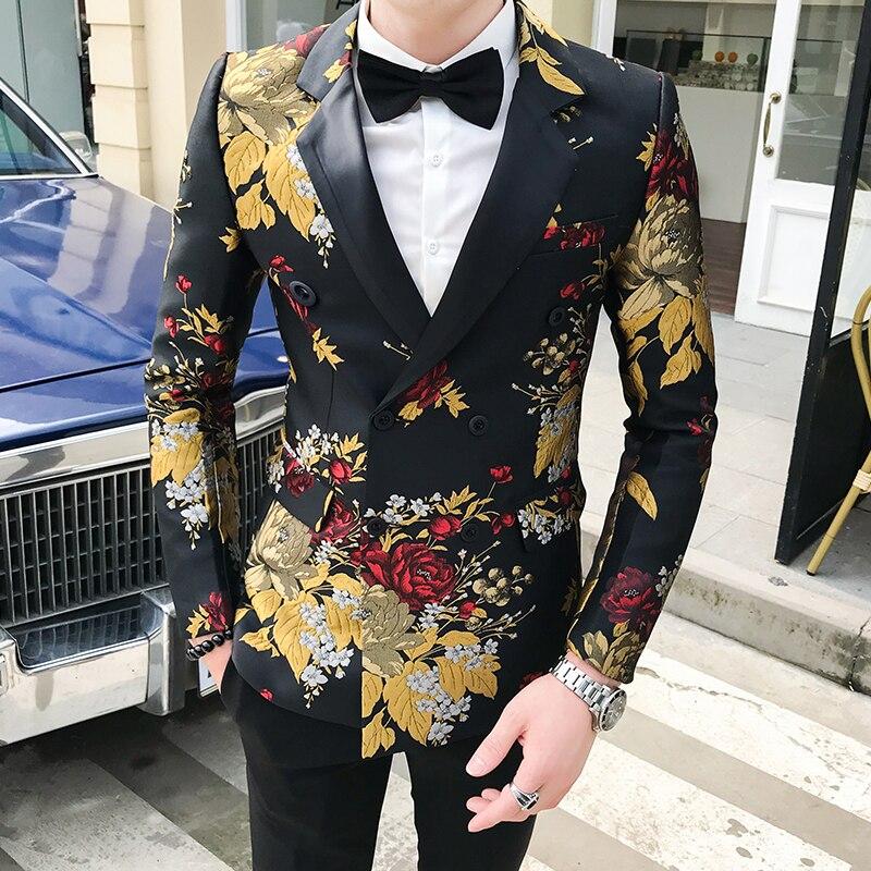 2020 Blazer Hombre Mens Slim Fit Blazer Jacket Business Affairs Printing Single Man's Suit Loose Coat Chaqueta Hombre Formal