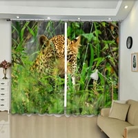 leopard ready to go in the green grass high precision blackout curtains dersonalized 3d digital printing purtains diy photos
