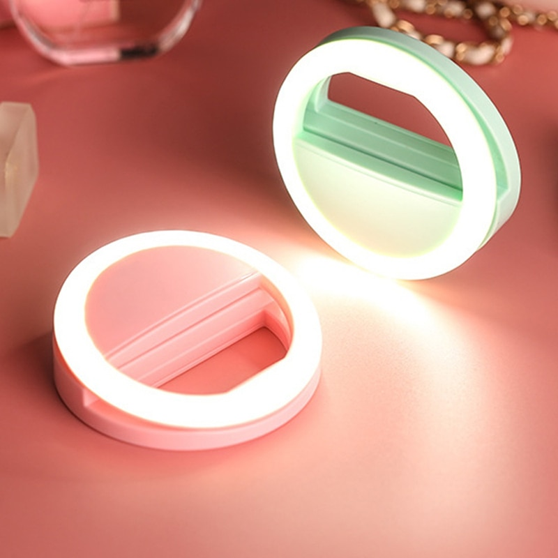 Selfie Video LED Ring Light For iPhone SE 2020 XS MAX XR X 8 7 6 s Plus Samsung Huawei Portable Photography Ringlight For Female