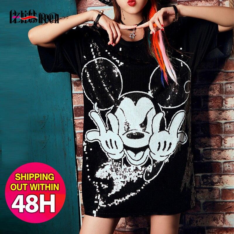 Runway verano Mujer estampado de dibujos animados lentejuelas camisetas de manga corta cuello redondo suelta Hip Hop moda Streetwear Camisetas largas Tops