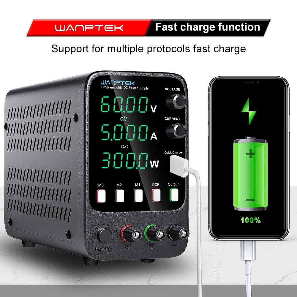 Wanptek تيار مستمر امدادات الطاقة قابل للتعديل 60 فولت 5A مختبر برمجة الذاكرة وظيفة متغير مقعد مصدر الطاقة الجهد المنظم التبديل