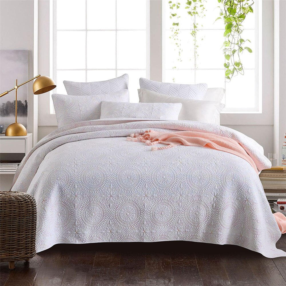 CHAUSUB المفارش على السرير لحاف مجموعة 3 قطعة بطانية قطن ل غطاء السرير المطرزة المخدة الملكة حجم الصيف غطاء أبيض