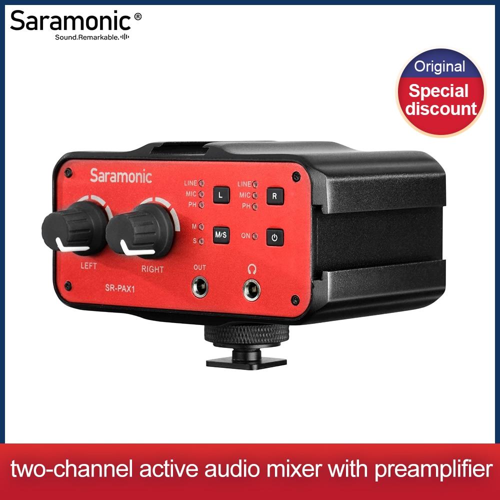 DSLR Preamp ، الصوت خلاط ، Saramonic SR-PAX1 ميكروفون محول مع السلطة الوهمية ، المزدوج XLR ، 6.3 مللي متر ، و 3.5 مللي متر المدخلات + 3.5 مللي متر الناتج