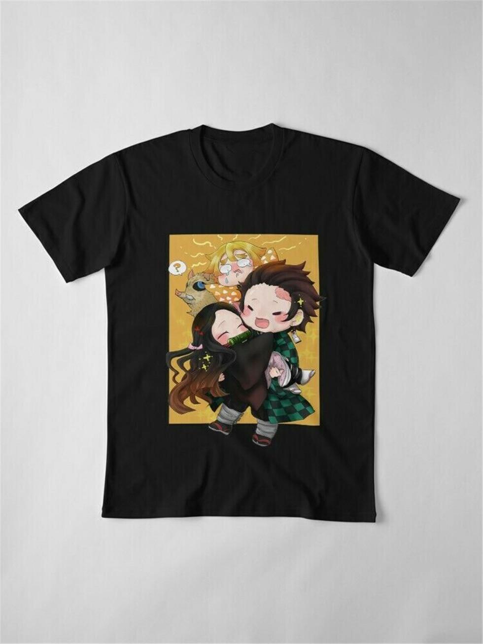 Kimetsu No Yaiba Chibi lindo demonio Slayer Tanjiro Nezuko Inosuke camiseta negra ropa deportiva camiseta