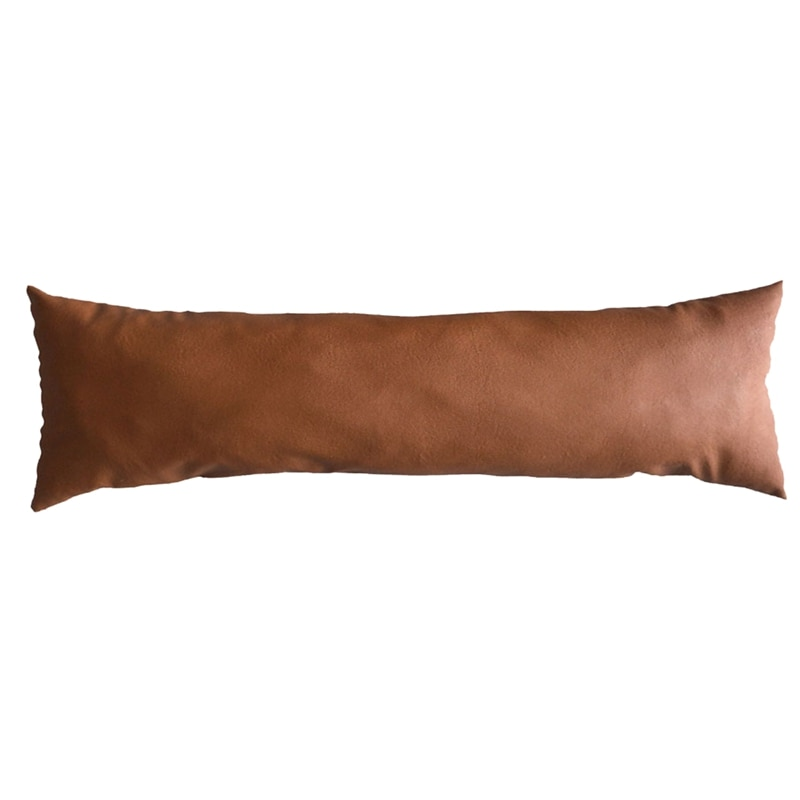 Funda de almohada lumbar de piel sintética gruesa Tan decorativa para sofá funda de almohada funda de cojín de piel marrón funda de cojín de piel de Color sólido