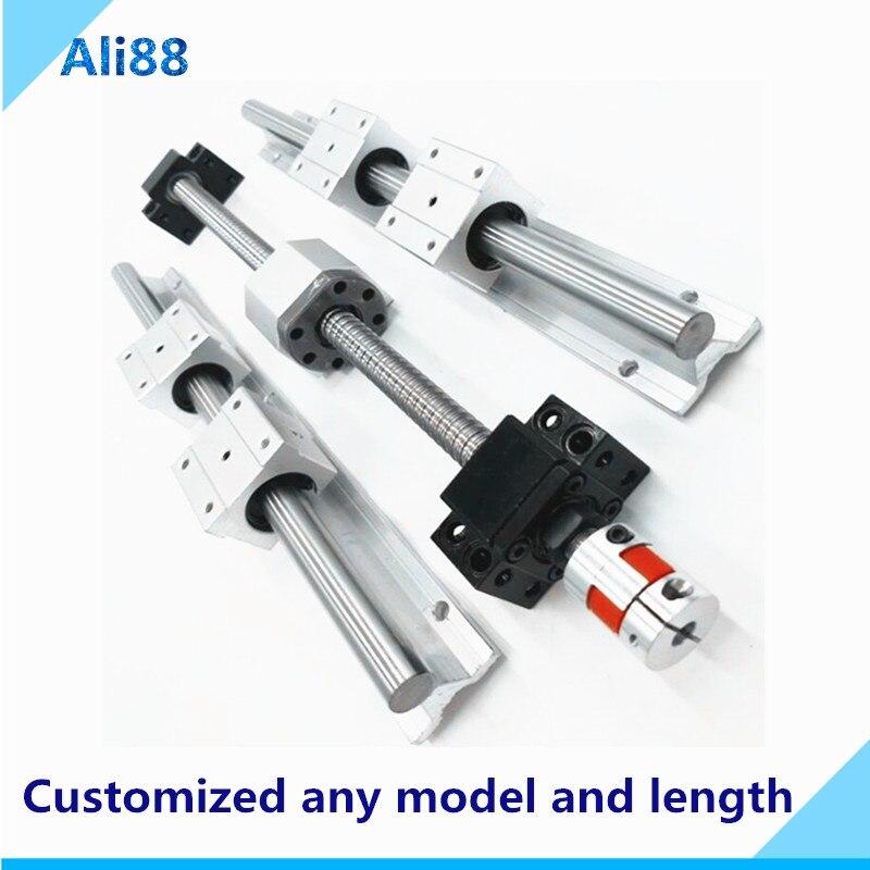 RU&EU free VAT! SBR16 set:linear guide Rail 200/250/300mm+block SBR16UU+SFU1605 ball screw with BKBF12 end maching for CNC parts