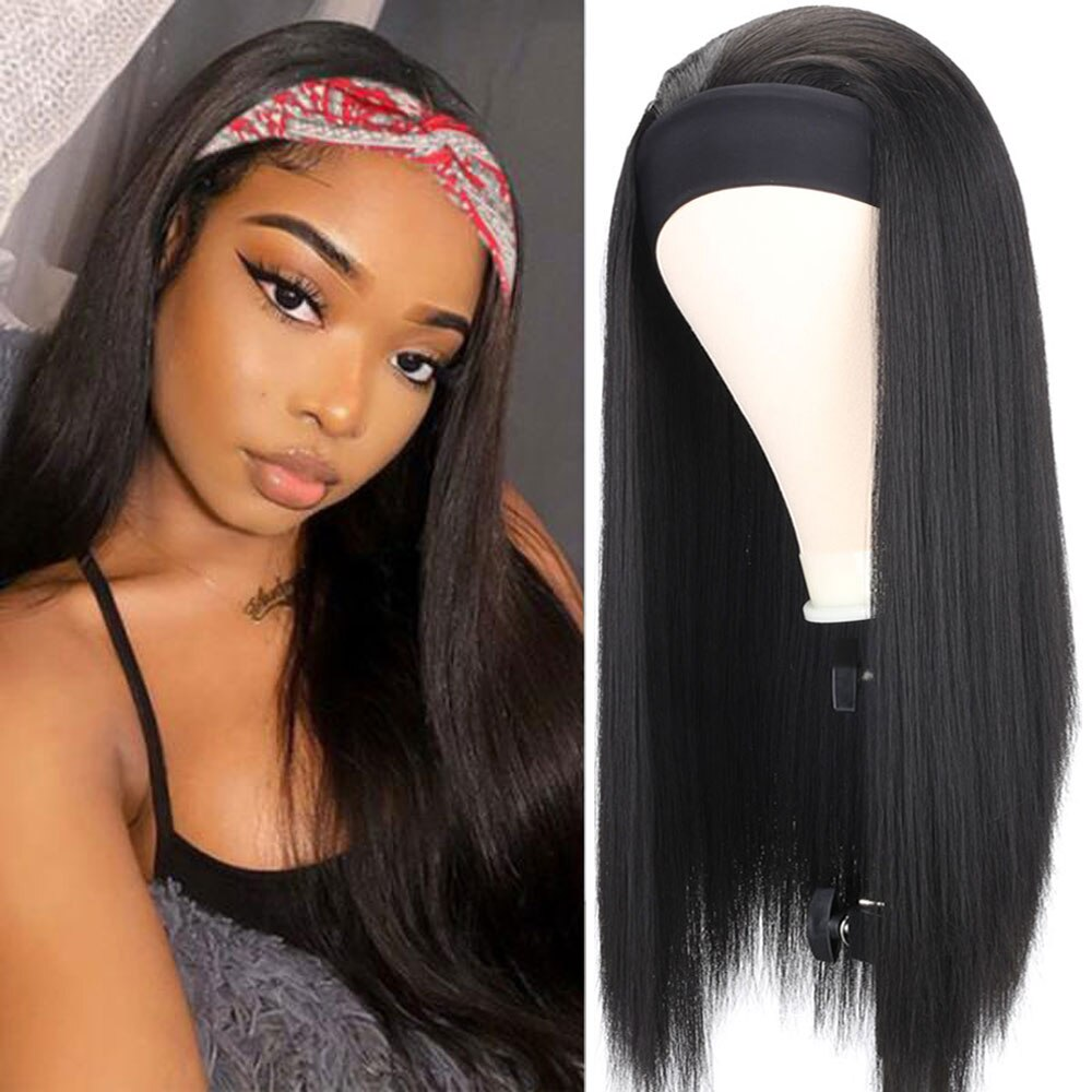 Long Straight/Yaki Headband Wig Heat Resistant Synthetic Women's Headband Wig Black/Brown Hair Wig For Black Women