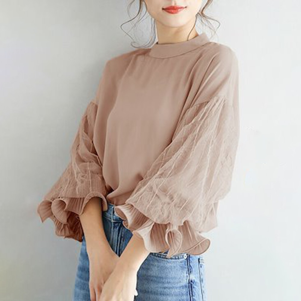 2021 Japanese Style New Women's Blouse Lace Solid Color Korean Fashion Round Neck Long Sleeve Loose
