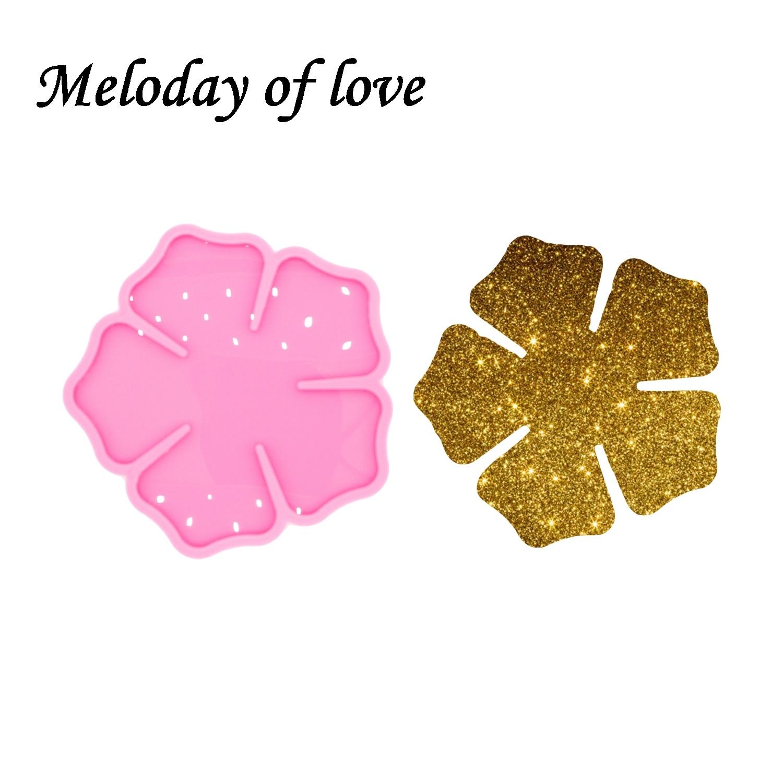 Moldes de silicona y epoxi brillantes con forma de flor para hacer Geoda, Molde de resina de ágata para posavasos, DY0488