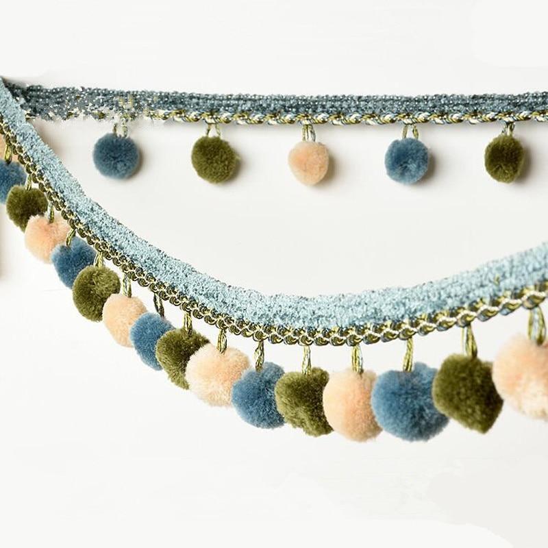 1M Pompom trim ball fringe ribbon Mini cotton tassel lace ribbon sewing lace kintted fabric handmade craft accessories