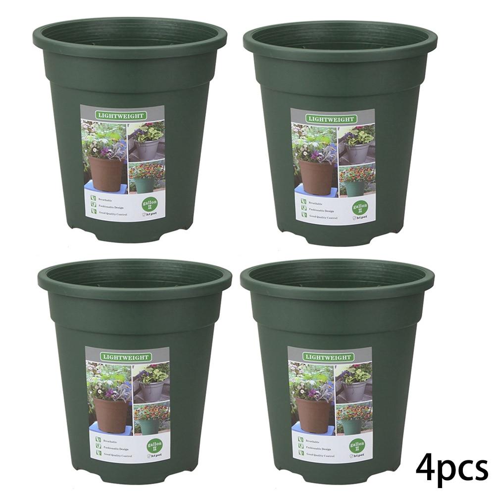 4* Gallon Pot Military Green/khaki Gallons Pot Durable Resin Planter Flower Plant Pot Gardening Flower Planting