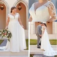 plus size a line wedding dresses v neck appliques lace gowns illusion long sleeve boho bridal dress vestido noiva