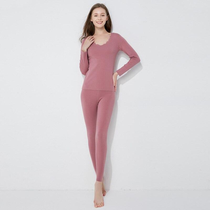 Sanderala 2019 nuevo Otoño Invierno pijamas mujeres sin costura manga larga Johns ropa para el hogar ropa interior térmica conjuntos
