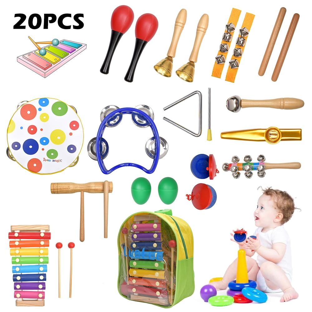 20 pcs conjunto de instrumentos musicais de percussao para a crianca com saco de