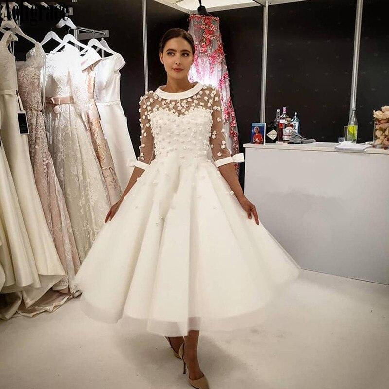 فستان زفاف عتيق قصير على شكل حرف A ، أكمام 2020 ، ياقة دائرية ، ربطة عنق ، طول الشاي ، مصنوع حسب الطلب ، مجموعة جديدة 3/4