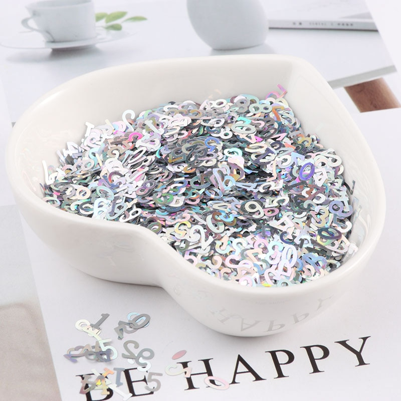 10g Ultrathin 5mm Number Shape Sequins Nail Glitter Paillettes Laser Silver Eo-Friendly PET Sequin N