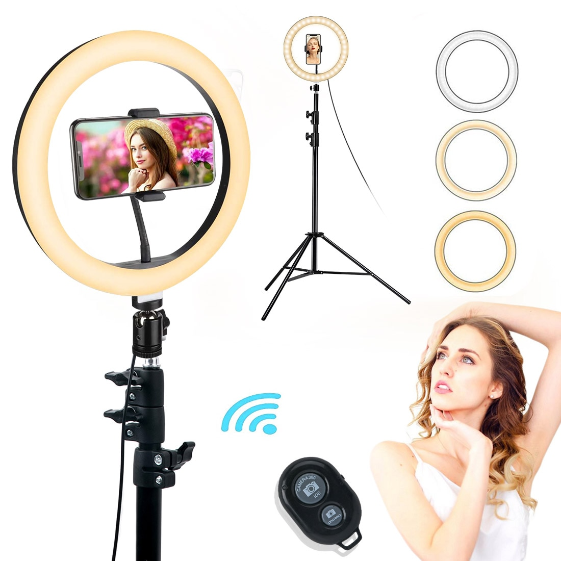 12 Inch LED Selfie Ring Light with Mirror Tripod Stand & Phone Holder Ring Lamp Photography Light for Live Stream YouTube Makeup