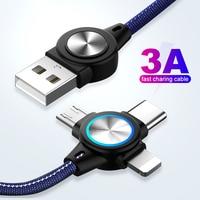 3 в 1 взаимный обмен данными между компьютером и периферийными устройствами кабель для мобильный телефон кабель с разъемом Micro USB Type-C для 8-ми ...