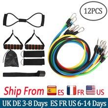 12 pièces/ensemble de bandes de résistance ensemble de traction corde fitness bande extenseur bandes élastiques Tubes de Yoga Latex bandas elasticas équipement de fitness