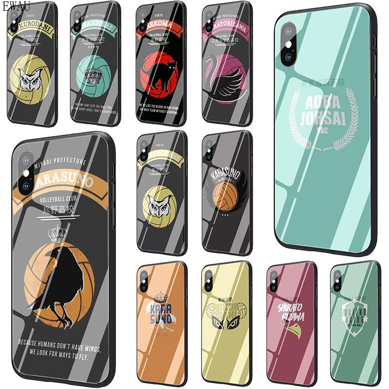 EWAU HAIKYUU! Чехол из закаленного стекла для телефона Karasuno Nekoma Crest для iphone 5 5s SE 6 6s 7 8 plus X XR XS 11 pro Max